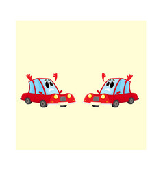 two funny red car auto characters absolutely vector image vector image