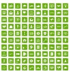 100 e-commerce icons set grunge green vector