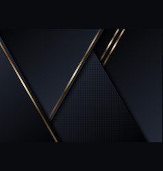 Abstract black triangles shapes with shiny golden vector