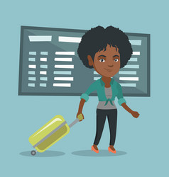 African woman walking with suitcase at airport vector