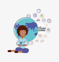 afro american woman sitting using phone world vector image