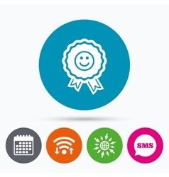 Award smile icon Happy face symbol vector image