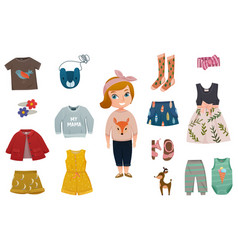 Baby girl fashion icon set vector
