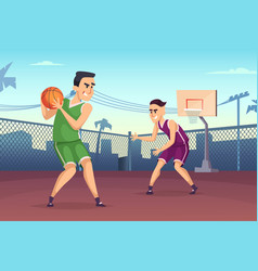Background of basketball players vector