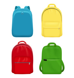 Backpack realistic school bag personal leather vector