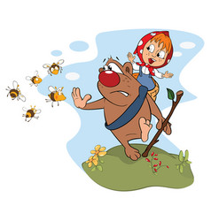 bear carrying girl cartoon vector image