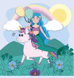 Beautiful unicorn with mermaid vector