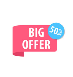 big offer label isolated on white red color vector image