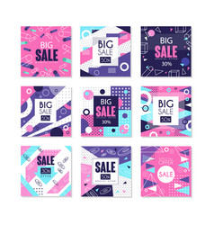 big sale banners set bright discount and vector image