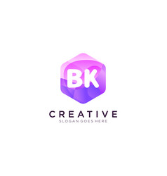 Bk initial logo with colorful hexagon modern vector