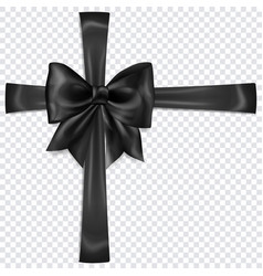 black bow with crosswise ribbons vector image
