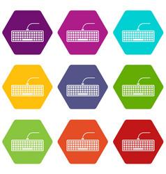black computer keyboard icon set color hexahedron vector image