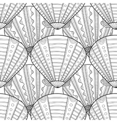 Black white seamless pattern with decorative sea vector