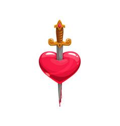 Bleeding heart stabbed sword isolated vector