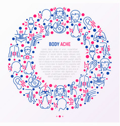 body aches concept in circle with thin line icons vector image