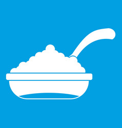 Bowl of caviar with spoon icon white vector