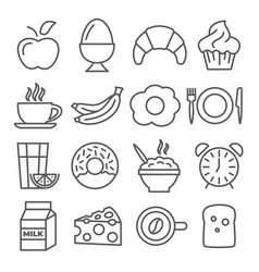 breakfast and morning line icons on white vector image