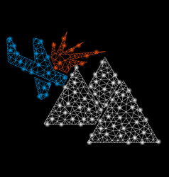 bright mesh 2d airplane mountain crash with flare vector image
