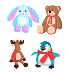 bunny and teddy bear toys vector image