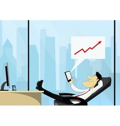 Businessman with tablet computer vector image