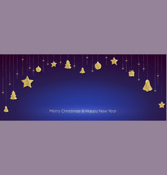 christmas decorations golden toys vector image