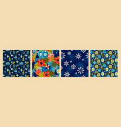 christmas seamless patterns with new year symbols vector image