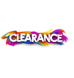 clearance paper banner with colorful brush strokes vector image