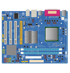 Computer motherboard on white background pc chip vector