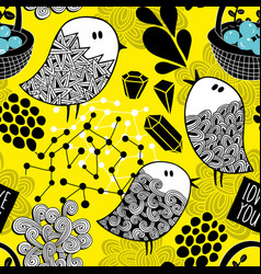 Creative yellow background with doodle birds vector