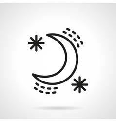 Crescent with stars black line design icon vector image