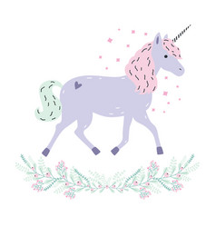 Cute unicorn full-length and floral garland vector
