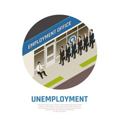 Employment office isometric composition vector