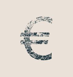 euro symbol grunge style icon vector image
