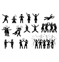 Female girl or woman celebration poses and vector