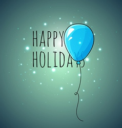 Festive card with blue balloons Departing spheres vector image
