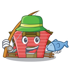 Fishing spring day with a red barn cartoon vector