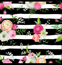 floral seamless pattern with pink flowers vector image