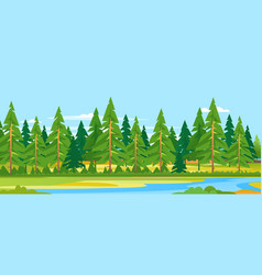 Forest river landscape background vector