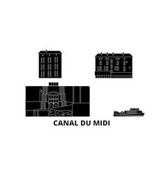 France canal du midi flat travel skyline set vector