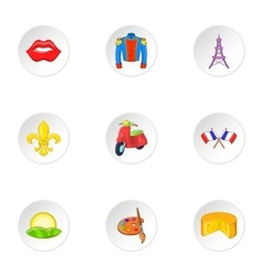 France Republic icons set cartoon style vector image