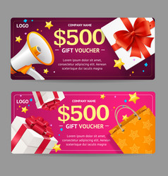 gift voucher card set vector image