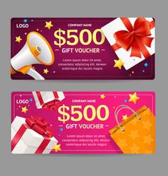 Gift voucher card set vector