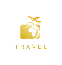 Gold travel logo vector
