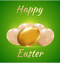 Golden eggs on a green background vector
