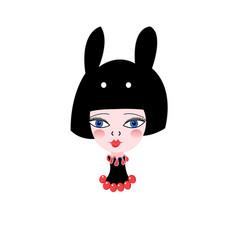 graphic portrait girl vector image