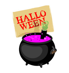 halloween pot with magical potion and hand zombie vector image