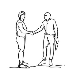 handshake concept two sketch business men shaking vector image