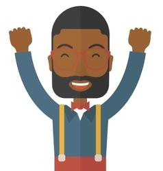 Happy young black guy vector