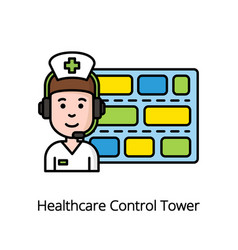 Healthcare control tower colorful icon with nurse vector