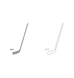 hockey sticks and puck grey set icon vector image